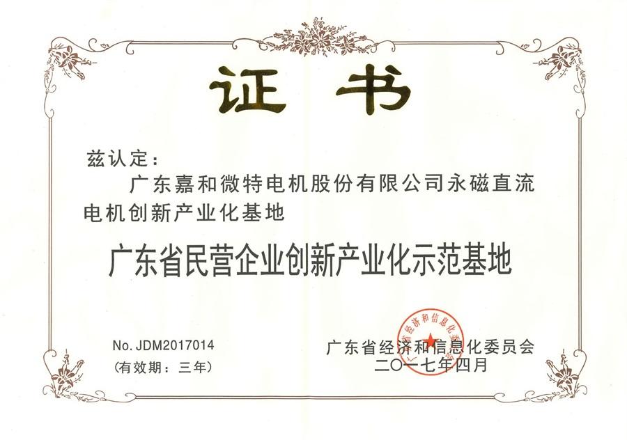 广东省民营企业创新产业化示范基地(永磁直流电机创新产业化基地)2017